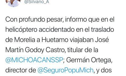 MUEREN FUNCIONARIOS EN MICHOACÁN, LUEGO DE ACCIDENTE EN HELICÓPTERO