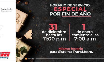 CONOCE EL HORARIO ESPECIAL POR FIN DE AÑO QUE TENDRÁ METRORREY