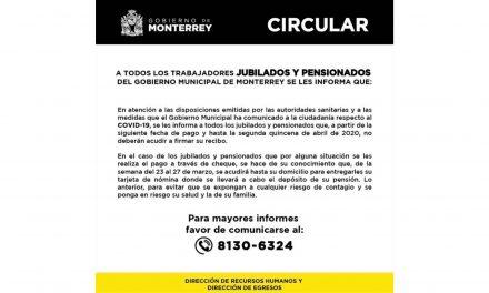 SE PREOCUPA MONTERREY POR LA SALUD Y BIENESTAR DE PENSIONADOS Y JUBILADOS ANTE EMERGENCIA DE COVID-19