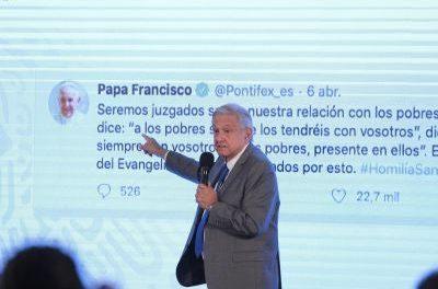 IZQUIERDA MUY CATÓLICA, LÓPEZ OBRADOR CITA MENSAJE DEL PAPA FRANCISCO EN LA MAÑANERA