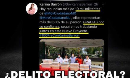"""DIPUTADA KARINA BARRÓN AL LÍMITE DE CONVERTIRSE EN DELINCUENTE ELECTORAL, ANUNCIA """"RENUNCIA"""" DE 10 MIL AFILIADOS A MC Y SU ADHESIÓN A SU NUEVO PARTIDO, OJALÁ LEA LISTADO DE ILÍCITOS EN QUE PUEDE INCURRIR CON ESE PROCESO ¡DE NADA!"""