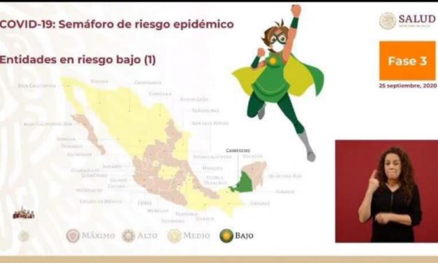 EL ESTADO DE CAMPECHE SE CONVIERTE EN EL PRIMER ESTADO EN TENER LUZ VERDE EN EL SEMÁFORO EPIDEMIOLÓGICO<br>