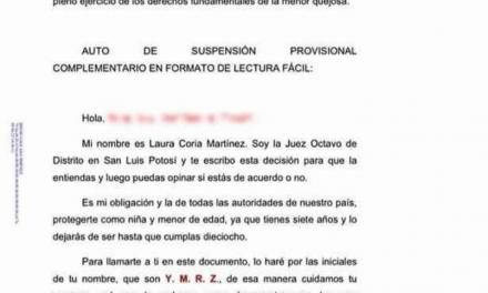 EN FORMATO DE LECTURA FÁCIL, JUEZA LE CONCEDE AMPARO A MENOR QUE NO LA DEJABAN INSCRIBIRSE EN EL CICLO ESCOLAR 20-21