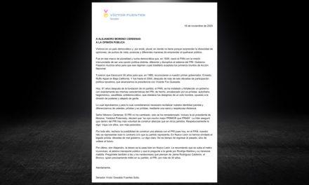 LANZA VÍCTOR FUENTES SOLÍS, EL SENADOR DEL PARTIDO ACCIÓN NACIONAL, DURA MISIVA CONTRA EL PRI DE ALITO MORENO