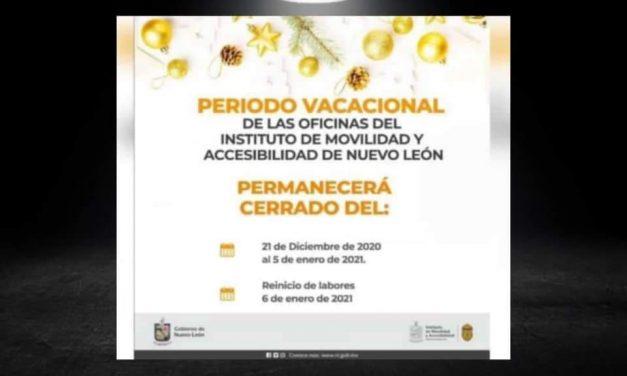 ¡TODOS DE VACACIONES! INSTITUTO DE MOVILIDAD ANUNCIA PERÍODO DE DESCANSO