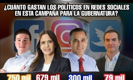 GASTAN EN REDES SOCIALES 750 MIL, 679 MIL, 300 MIL Y 79 MIL PESOS SAMUEL GARCÍA, CLARA LUZ, LARRAZÁBAL Y ADRIÁN DE LA GARZA RESPECTIVAMENTE<br>